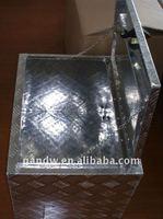 Inside aluminum checker plate trailer tool box
