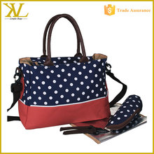 Fashion Multi Function Dots Baby Diaper Handbag, Outdoor Travel Baby Changing Bag