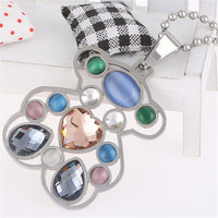 Yiwu Aceon Stainless Steel Inlay the Stone you want Colorful Bear Shape Pendant diy jewelry