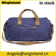 6008 Popular Design Vintage Navy Blue Large Cotton Canvas Travel Sport Duffel Bag For Men Gender