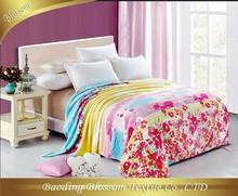 Poly/Polyamide Microfiber Blanket HRM Bedding Set Printed Spring Floral Blanket China Wholesale Quilt Supplier