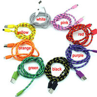 Colorful Micro USB cable for cell phone Braided Usb Micro Cable DHL shipping