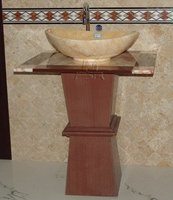 stone pedestal with basin , granite pedestal with sink, marble pedestal with sinks for bathroom