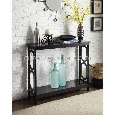 Couloir meubles noir console table avec rangement derri re - Bureau etroit pour entree ...