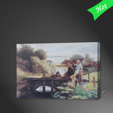Natural scenery oil painting,nature scenery wall picture,fishing wall scenery
