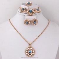 Dubai Gold Plated Jewelry Pearl Necklace Set Bridal Wedding Jewelry Set