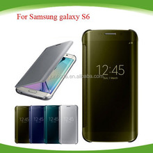 Ultra Clear View Cover For Samsung GALAXY S6 flip cover S6 Mirror Screen Flip Leather case