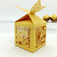 New Hot Product 2016 Gold Laser Cutting Flower Paper Candy Boxes