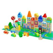 wooden city printing educational blocks&toys