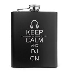 """custom alcohol 6oz hip flask with black background and with white printing """"Keep Calm And DJ On"""""""