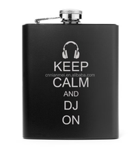 "custom alcohol 6oz hip flask with black background and with white printing ""Keep Calm And DJ On"""