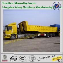 Hyva cylinder U shape 2 axles rear tipping truck trailer/twin axles dump semi trailer