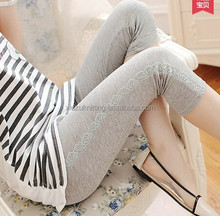 grey cotton fashionable lady cropped tights with broadside lace
