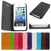 Crazy Horse design Flip leather Case cover for iPhone 5 / 5s