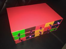 red chocolate box/ candy box with five drawer different color