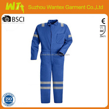 navy reflective cotton fabric coverall sets security fire retardant coverall for fireman gray cotton coverall for worker