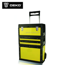 Three layers Easy carrying trolley plastic tool box with wheels