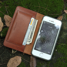 newest style 100% Italian vegetable tanned leather phone wallet luxury mobile phone case for iphone 5/6