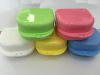 Denture box plastic colorful dental orthodontic retainer storage box
