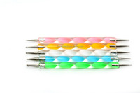 5pcs hot sale cosmetic tools double-end nail art brush, colorful nail tools nail art dotting tools painting