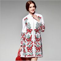 Winter Coat New Fashion 2015 Outerwear Women Brand Wool Allover Embroidery Covered Button Long Woolen Coat Plus Size Female XXL