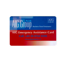 Printed AIG Emergency Assistance Card, Plastic business card, Insurance Service card