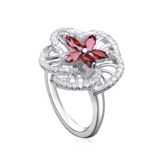 Fashion big Red flower shape 925 sterling silver ring with cubic zircon jewelry for women