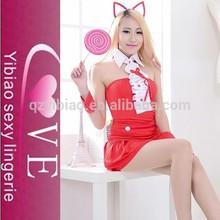 2015 venta caliente rojo de fantasía de disfraces vestido de traje de gato con corbata sexy traje de fiesta