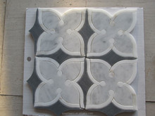 water jet mosaic grey marble mix white marble tile