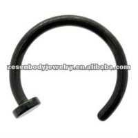 Tianium fancy black plated nose ring body piercing jewelry