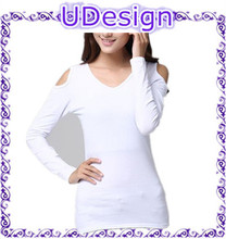 Womens newest design blank white strapless long sleeve t shirts