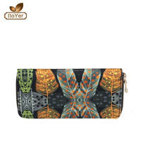 Classic old fashion women wallets in canvas material of feather printing