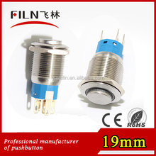 19mm stainless steel illuminated latching high flat waterproof 110vac ring red LED momentary push button switch