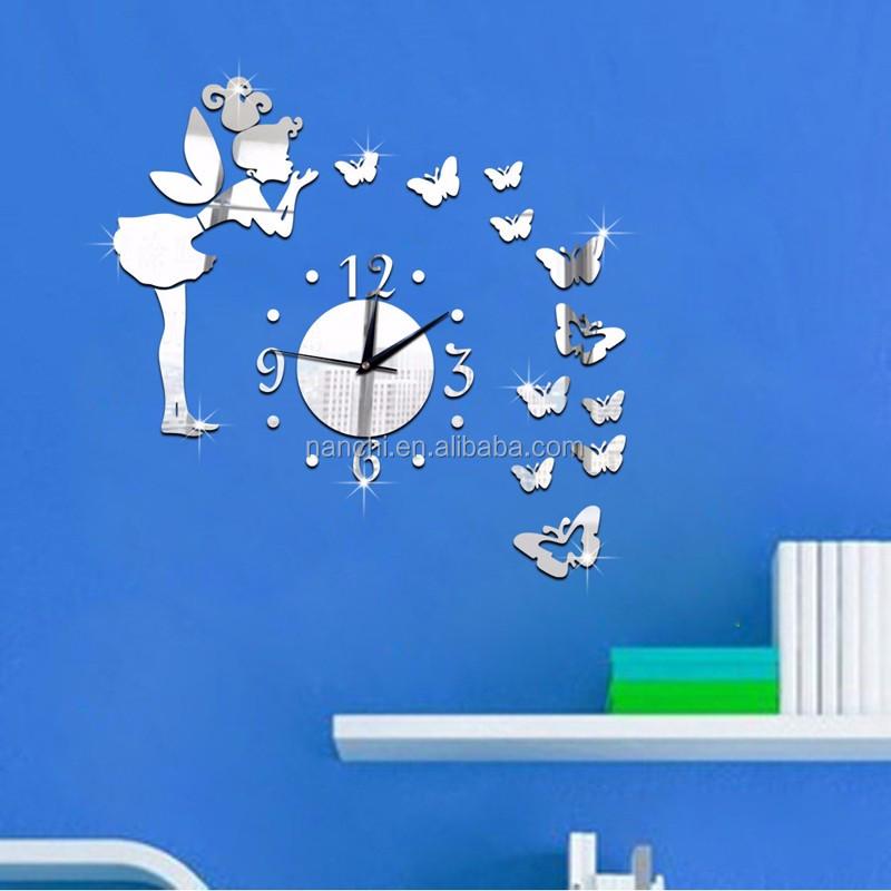 Littel 소녀 부는 나비 DIY 벽 시계 천사 디자인 소녀 룸 미러 시계 ...