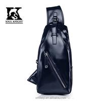 SK-4008 Promotional custom design brand leather messenger bags shoulder bags for men