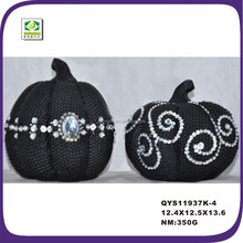 Newest design polyresin halloween black glister pumpkin