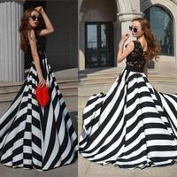 Bestdress party design clothes Wholesale Lady OL Career Lace Chiffon Stripe Long Cotton Maxi New Design Maxi Dresses SV004361
