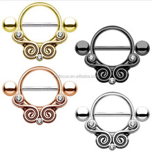Nipple Ring Piercing Shield Lace Swirls with Clear CZ 316L Surgical Steel