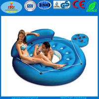 Inflatable Floating Island Sofa Lounger Chair with Drinks Tray
