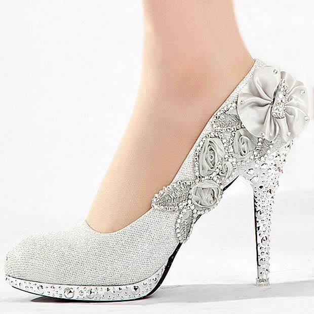 Silver Wedding Shoes With Rhinestones - Rhinestones