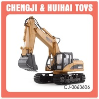 15ch multifuntional remote control metal digger with light, chargeable rc alloy model construction excavator