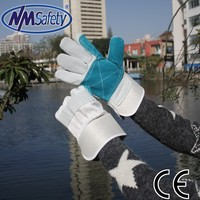 NMSAFETY cow split working leather gloves welding gloves rubberize