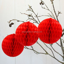 Special Red tissue paper honeycomb ball for Wedding Decoration