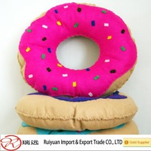 2015 Alibaba hot sale!!Supercute felt doughnut cushion for kids soft toy