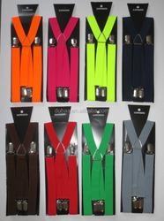 "Mens/Ladies 4 Clips ""X"" Adjustable Braces Width 25mm-One Size-Var Solid Cols Fantasia Boutique Clothing"