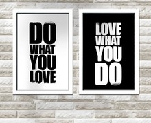 2 Panel XQ55 Do What You Love Design Printed Wall Hanging Frameless Canvas Painting