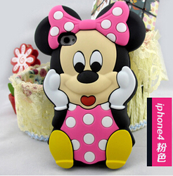 Lovely Cute Cartoon Mickey Mouse Minnie 3D Soft Rubber Silicone Cover Case for iPhone 5C 5S 4 4S