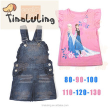 kids clothes 2015 denim baby clothes Strap jeans yiwu children clothes