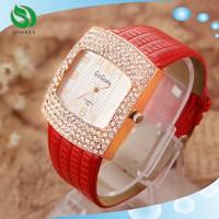 Gogoey New Style Ladies Crystal Diamond Quartz Leather Wrist Watch Dress Gift for Women