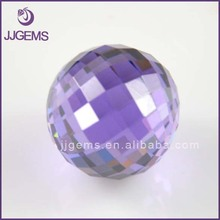 Wholesale Half Drilled Synthetic Amethyst Faceted Cz Ball Bead For Jewelry Making
